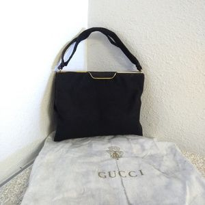 Vtg Gucci Black Cotton Bag